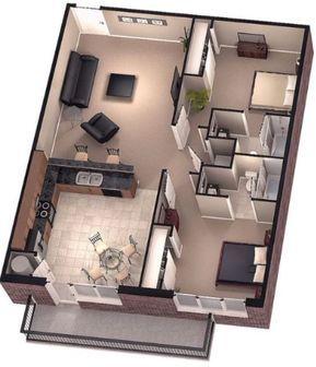 Departamento moderno pequeño con balcón