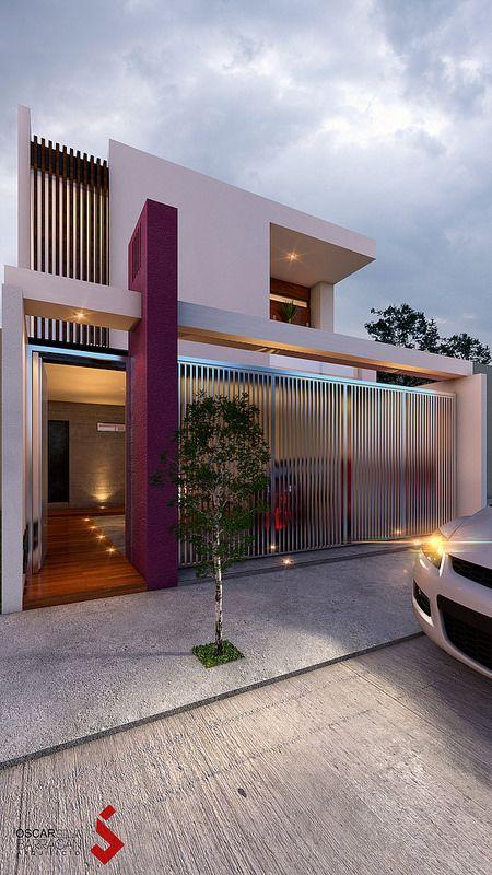 Detalles de metal para fachada moderna de dos pisos