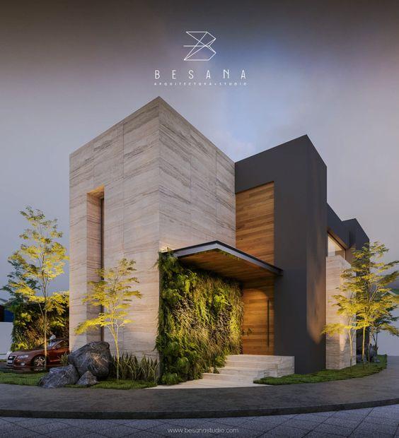Diseño con piedra para fachada moderna