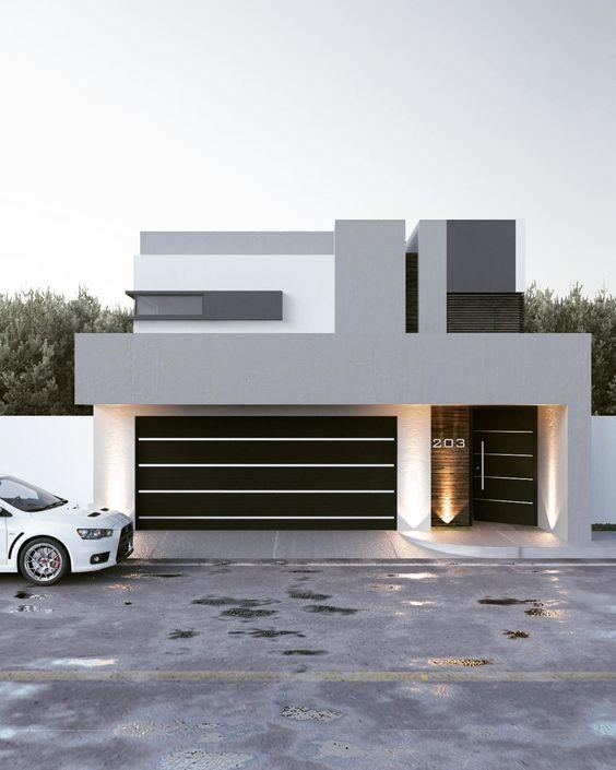Duotono para casa con fachada moderna