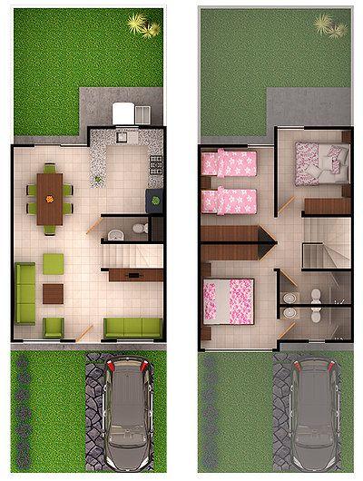 Ejemplos de planos de piso superior e inferior de casa infonavit