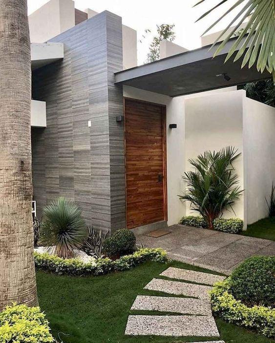 Fachada para casa con entrada moderna