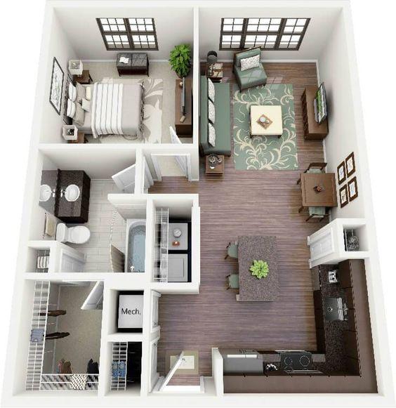 Interior en plano para casa pequeña individual