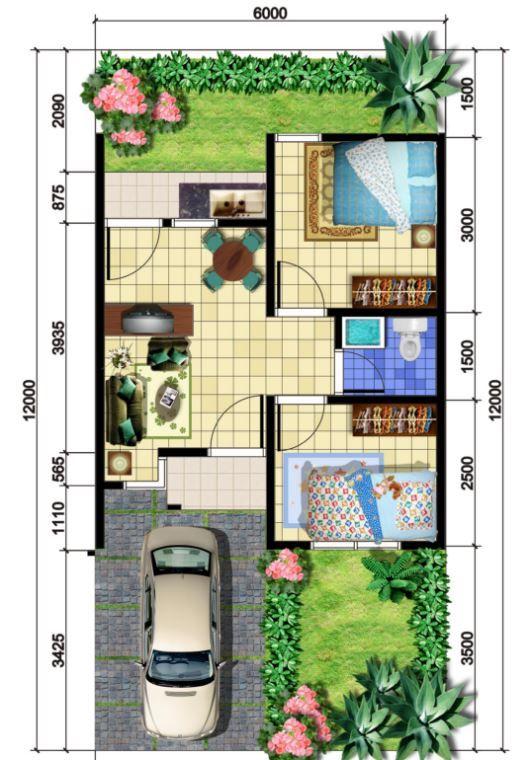 Jardín frontal para plano de casa