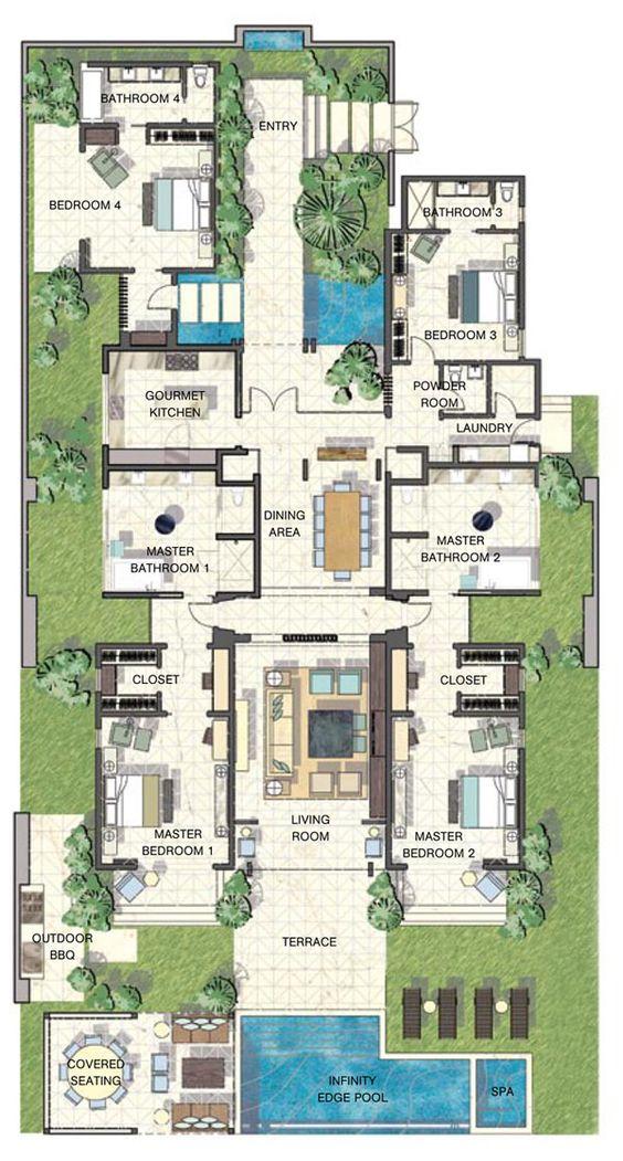 Piscinas en planos de casa lujosa