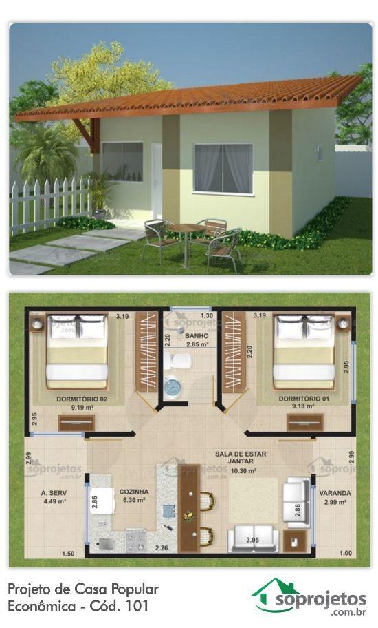 Plano con fachada de casa de una planta