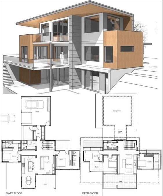 Plano de casa a desnivel de 3 plantas