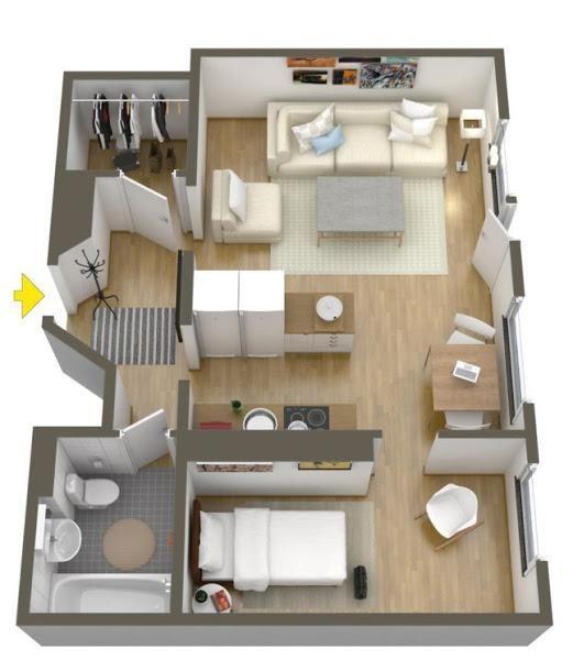 Plano de una casa chica para una persona