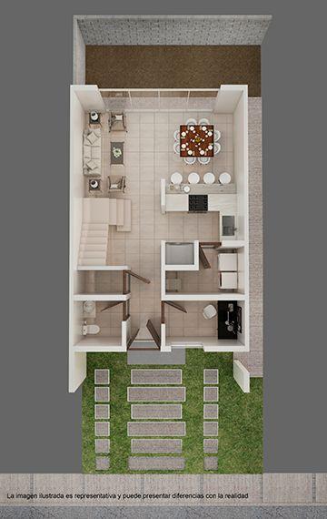 Plano de casa infonavit de piso inferior