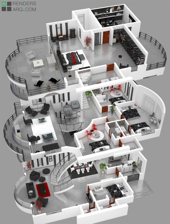 Plano de casa lujosa con 3 pisos