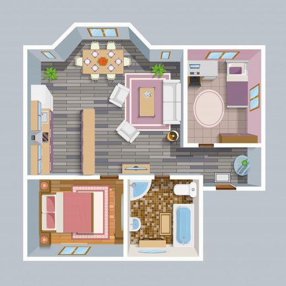 Plano de casa moderna pequeña con 2 habitaciones