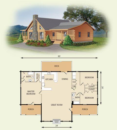Plano de casa de madera rústica para campo