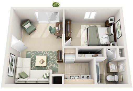 Plano de casa sencilla con baño personal