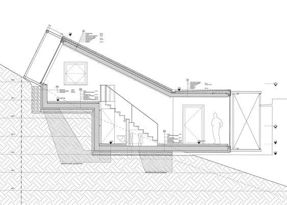 Plano de casa sencilla con desnivel