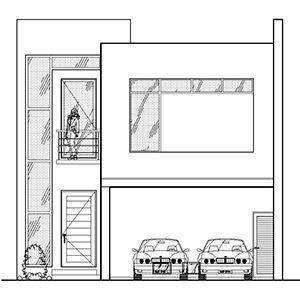 Plano de casas con fachada cuadrada