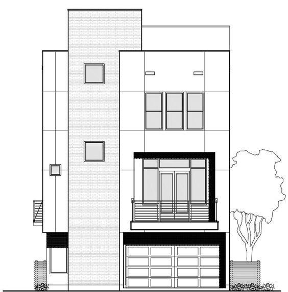 Plano fachada de casa de 3 pisos