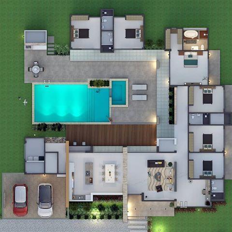 Plano interior de casa con alberca