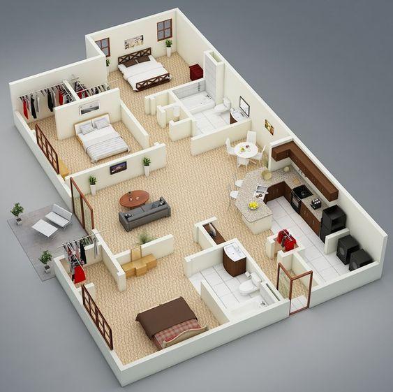 Planos de casa interior con 3 recámaras y terraza