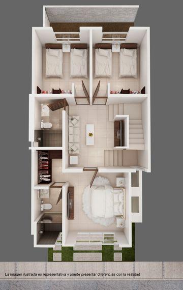 Segunda planta de plano de casa infonavit