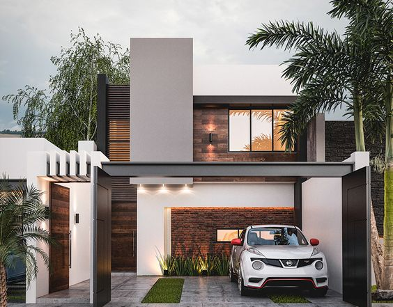 Fachadas de casas pequeñas con cochera modernas