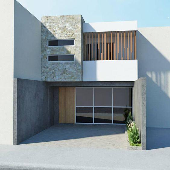 Fachadas de casas económicas de dos plantas