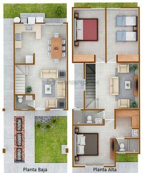 Opciones de planos de casas pequeñas de dos pisos modernas