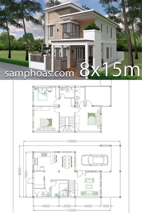 Planos de casas pequeñas de dos pisos con medidas en metros