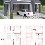 Planos de casas pequeñas de dos pisos en 3d