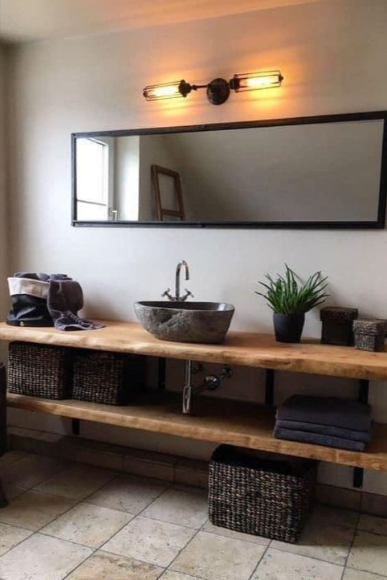 Baños modernos decorados con toques de madera