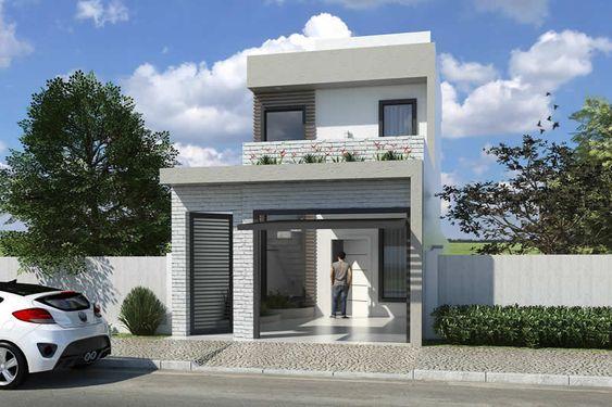 Ideas de fachadas de casas pequeñas de dos pisos