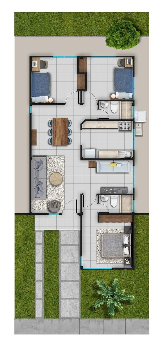 Opciones de planos de casas pequeñas de dos pisos