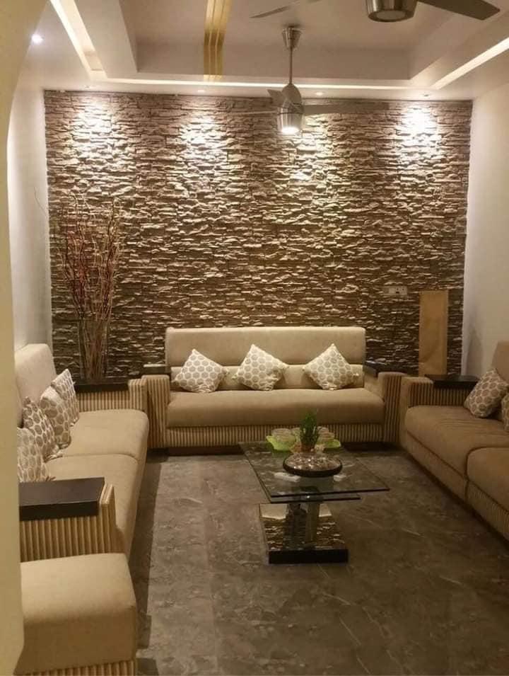 Decora las paredes de tu sala con piedra