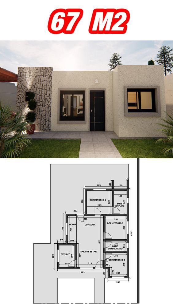 Planos de casas económicas de 3 dormitorios