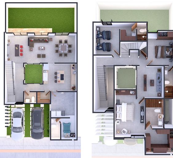 Planos de casas económicas de 2 pisos