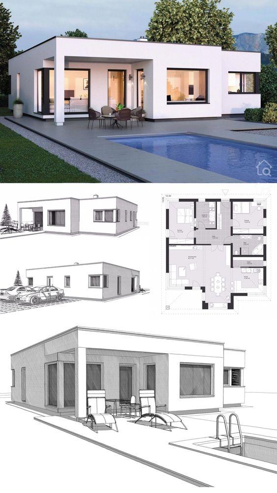 Ideas de planos de casas minimalistas con piscina