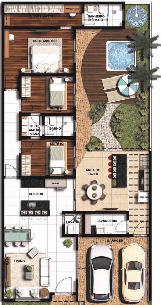 Plano de casa moderna de 50 m2